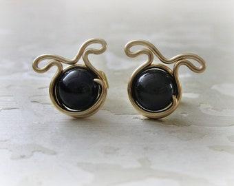 Black Dog Studs, Gold Post Earrings, Pet Lover Gift, Dog Earrings, Black Onyx Studs, Dog Jewelry, Dog Lover, Gold Dog Studs, Black Dog