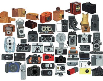 A3 Poster Print of Cameras