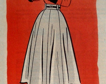 Vintage 1950s Eight Gore Skirt Pattern Marian Martin 9337 Waist 26