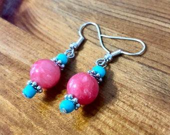 Summer Coral & Turquoise Earrings