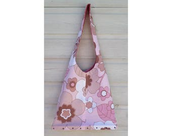 Vintage 60's pink floral wooden base messenger shopper shoulder bag