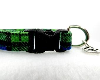 Green and Blue Plaid Cat Collar, Adjustable Cat Collar, Breakaway Cat  Collar