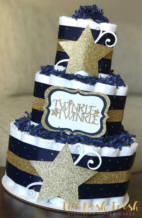 Twinkle Twinkle Little Star Diaper Cake Navy Gold Boy Diaper