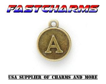 LETTER CHARM, A, 15x12mm,1/5 pcs,Antique Bronze,letter A charm,letter charms,fastcharms,charms for bracelets,alphabet charms,letters (YB29A)