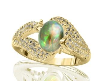 9x7mm Australian Black Opal Ring w/ 0.68ct Diamond in 14K or 18K Gold 2.18TCW Sku: R2409