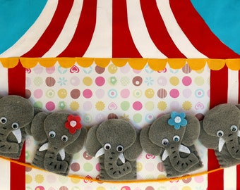 Five Grey Elephants Finger Puppet Set