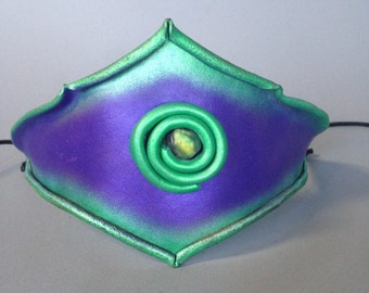 "Spiral Molded Leather Headband in Purple and Green with ""Opal-like"" Dichroic Bead"