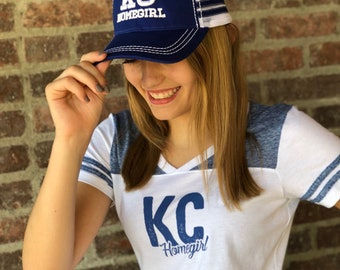 KC HOMEGIRL Blue and White Baseball Cap