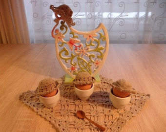 Egg warmers  Linen egg warmers Crochet egg warmers in rustic style Set of 3
