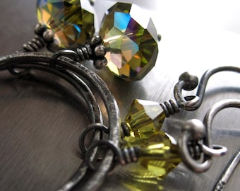 Olive Green Crystal Hoop Earrings, Oxidized Sterling Silver Circle Earrings, Charcoal Silver Grey Gray, Geometric Modern Jewelry - UNION