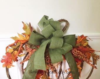 pumpkin door hanger, pumpkin wreaths, pumpkin wall hanger, wreaths for front door, burlap wreaths, rustic wreaths, holiday door hanger
