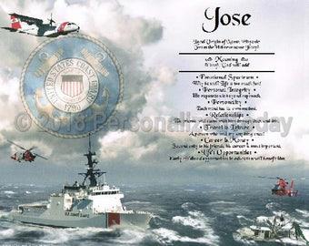 USCG Name Meaning Origin Print US Coast Guard Name Personalized Certificate 8.5 x 11 Custom Name Coastguard Military PT Poster Print Sign