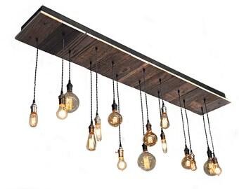 15 Light Reclaimed Wood Chandelier   Edison Style Bulbs, Rustic Lighting,  Bar Lighting, Pool Table Lighting