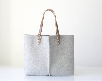 100% Design Wool Felt Bag, Elegant and Casual Wool felt tote bag, Leather Bag, Leather handles tote, Gift For Her, Stocking Fillers.