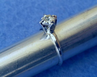 Vintage Esposito Faux Diamond Solitaire Engagement Ring Karatclad 18KT HGE Espo size 5.25 white gold plated