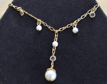 """1928 Delicate Faux Pearl, Crystal """"Y"""" Necklace, Gold tone, Vintage (T7)"""