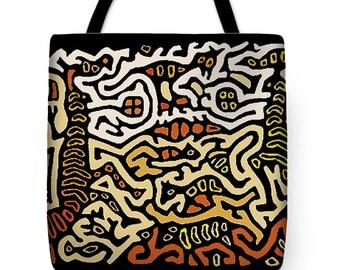 Shaman Serpent Spirits Tribal PolyPoplin Tote Bag - SilkyPoly Throw Pillow - Tribal Decor Tote Bag - Laptop Bag - Diaper Bag - Tribal Pillow