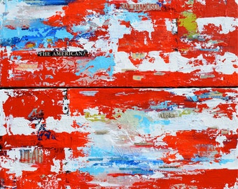 "US Flag Contemporary Americana US Abstract Mixed Media Original Acrylic Impasto Painting on set of Diptych 24""x24"""