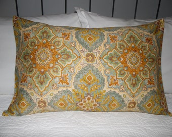 Adobe Print.Sky Blue.Golds.Greens Cinnamon.Burnt Yellows.Pillow cover. Slip Cover. Home Decor.Southwestern