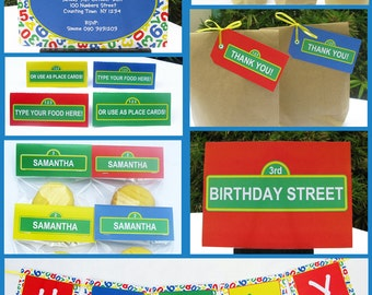 Sesame Street Party Invitations & Decorations - full Printable Package - INSTANT DOWNLOAD with EDITABLE text - you personalize at home