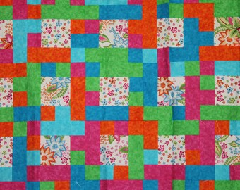 Funky, Bright Floral Patchwork Throw Size Quilt Top
