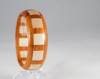 Natural Wood Bangle Bracelet   Segmented Handmade Geometric Bracelet   Light Dark Wood Colors   Maple Mahogany Wood   Block Pattern   Unique