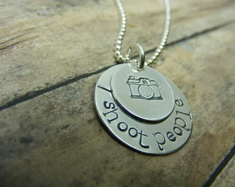 Camera necklace-layered two disc-personalized-handstamped necklace-i shoot people