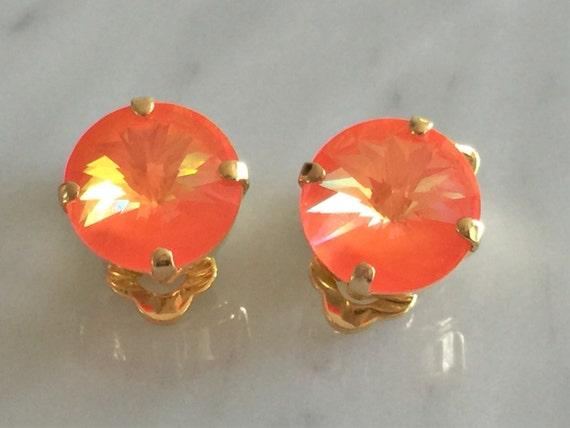 Ultra Orange AB Swarovski Crystal Clip On Earrings, Yellow Gold