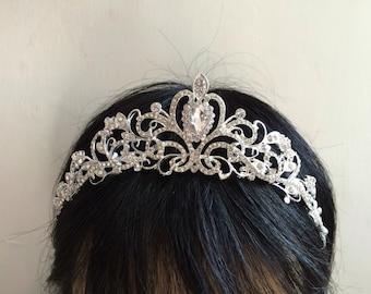 Sparkle Victorian wedding bridal jewelry headband Swarovski rhinestone crystals hair comb tiara, rhinestones crown, engaged