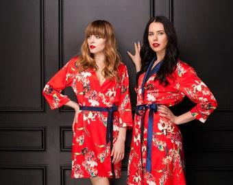 Red Robe, Floral Robe, Satin Robe, Satin Bridal Robe, Floral Kimono, Red Dressing Gown, Red Bridesmaid Robe, Bridal Party Robe, Wedding Robe