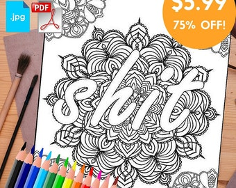 Adult Coloring book printable: COMBO 20 Pages Swear Word Print at home Digital Download, instant download PDF,Popular sweary coloring