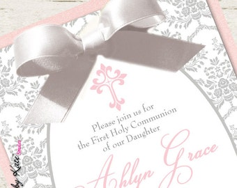 Girl First Communion Invitation Pink and Silver