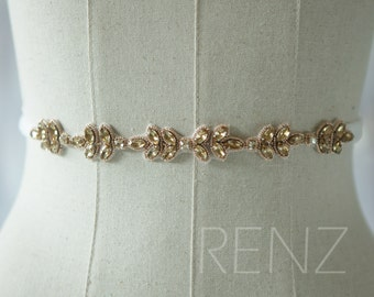 Gold Wedding Sash, Bridal Belt, Bridal Sash, Bridesmaids Sash Crystal Sash Jewelly Belt (LA177B)