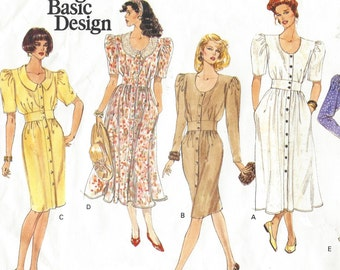 90s Womens Spring Dress Slim or Flared Skirt Vogue Sewing Pattern 2482 Size 8 10 12 Bust 31 1/2 to 34 UnCut Vintage Vogue Basic Design