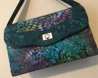 """Necessary Clutch Wallet with a 44"""" Strap and 2 Zipper Pockets - Handmade, Multi Color 100% Cotton Batik in 3 Sizes"""