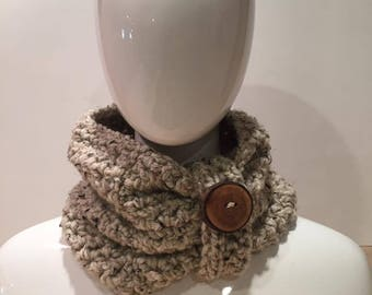 Crochet Chunky Cowl with Wooden Button in Oatmeal