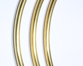 6 Pcs (4,5x110mm) Raw Brass Curved Tubes, Necklace tubes , Brass Tubes making necklace, TBR16