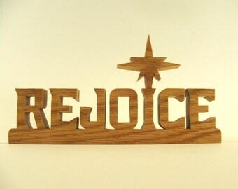 Christmas Rejoice desk sign with Christmas star