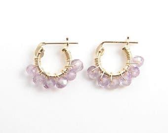 Tiny Amethyst Hoop Earrings ~ 14K GF Hoop Earrings ~ February Birthday ~ Light Lavendar Colored Stones ~ Simple Modern Jewelry by PetitBlue