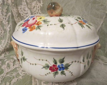 Vintage French Hand-Painted Pottery Tureen Made for Tilden Thurber of Rhode Island, French Country Pottery, French Urn French Floral Pottery