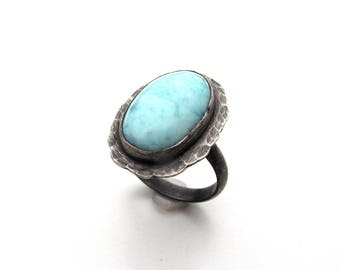 Sterling Silver and Larimar Ring - Size 8 OOAK