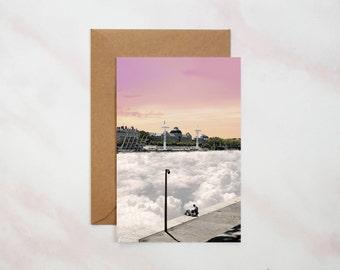 Postcard - Lyon - France - photomontage - digital collage - Rachel handmade Goods