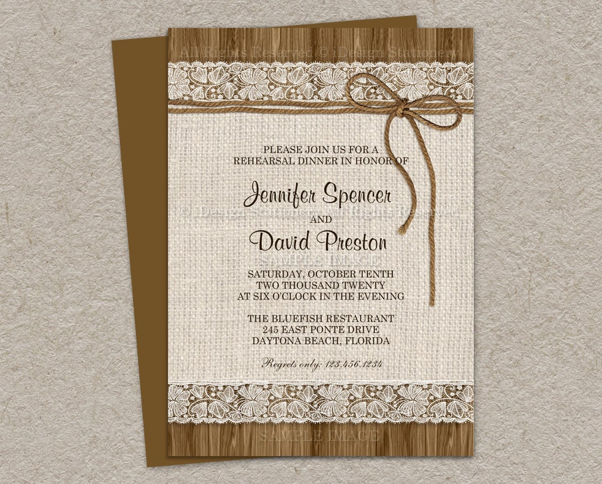 Molto Rustic Rehearsal Dinner Invitation Rustic Wedding Rehearsal WY48