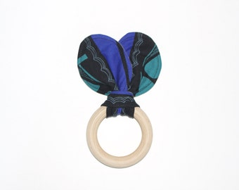 "3"" Abstract Black, Grey & Blue Wooden Bunny Ear Teething Ring Toy // by Elle Lee and Me"