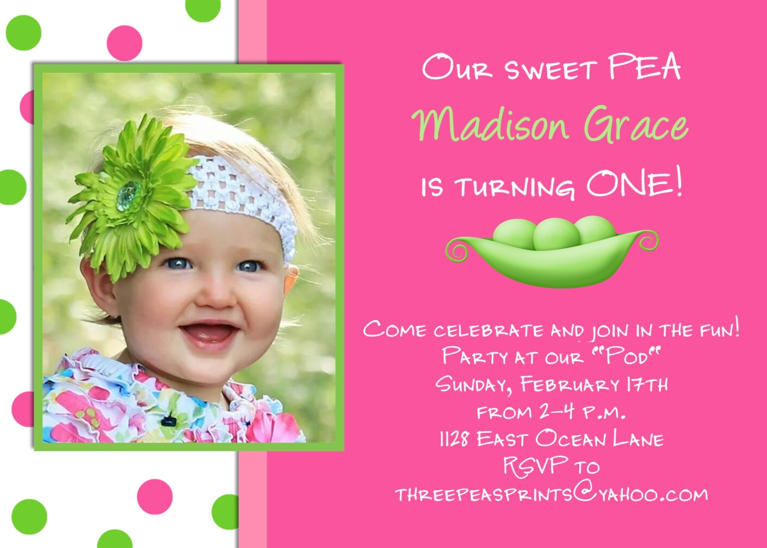 Sweet pea girl birthday invitation hot pink lime green photo sweet pea girl birthday invitation hot pink lime green photo card design printable custom invite filmwisefo Gallery