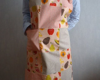 Handmade apron patchwork orange brown gingham and fruit - red fruits and Brown - kitchen apron patchwork apron - apron