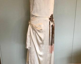 1920s Silk wedding dress with tassel detail