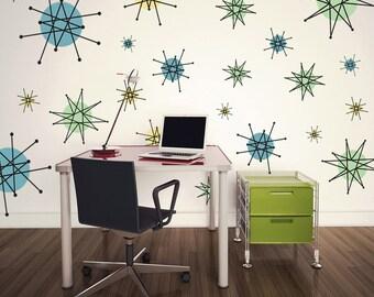 Atomic Starburst 50s Style Wall Decals Sheet Large #47461
