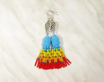 Indian earring Blue tassel earring Native american earring Seed bead earring Tribe tassel earring Native american inspired jewelry