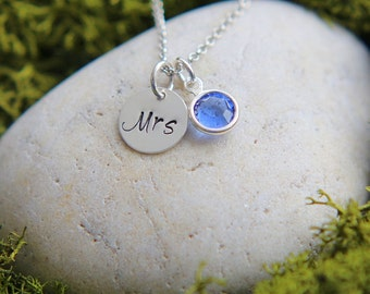 Mrs. Necklace, Wedding Necklace, Something Blue, Bridal Shower Gift, New Bride Gift, Honeymoon necklace, Birthstone Necklace, Gift for Wife